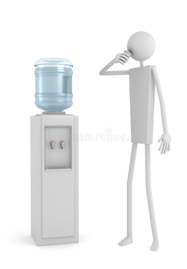 Acqua potabile dell'uomo vicino al dispositivo di raffreddamento di acqua immagini stock libere da diritti