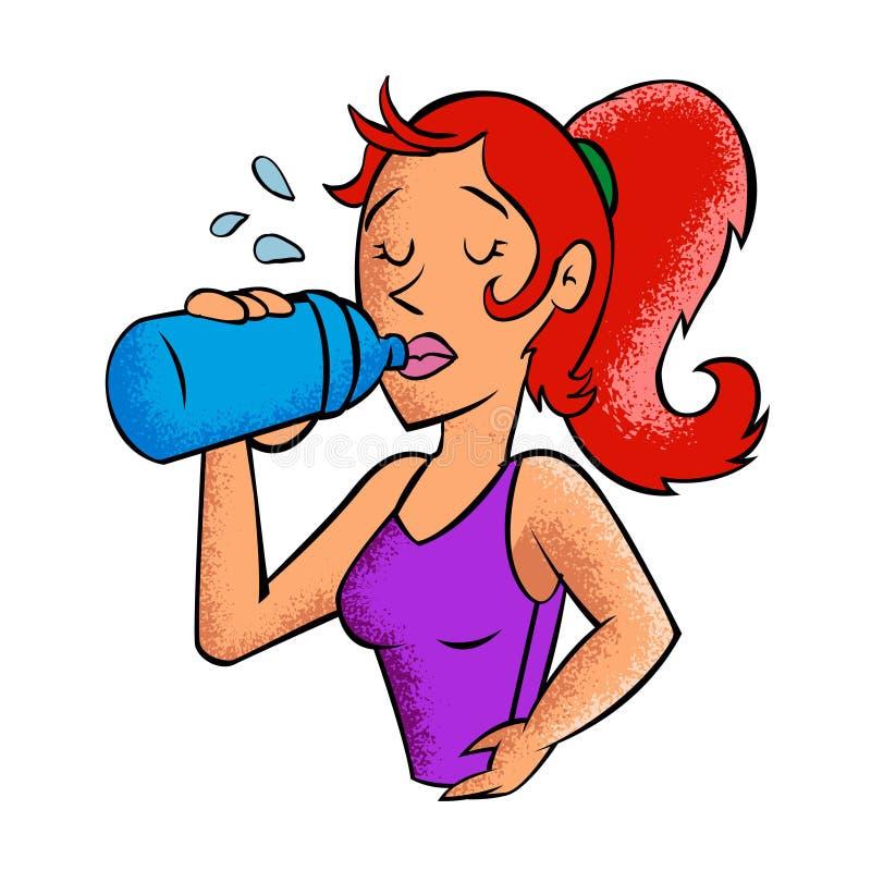 Acqua potabile della giovane donna illustrazione vettoriale