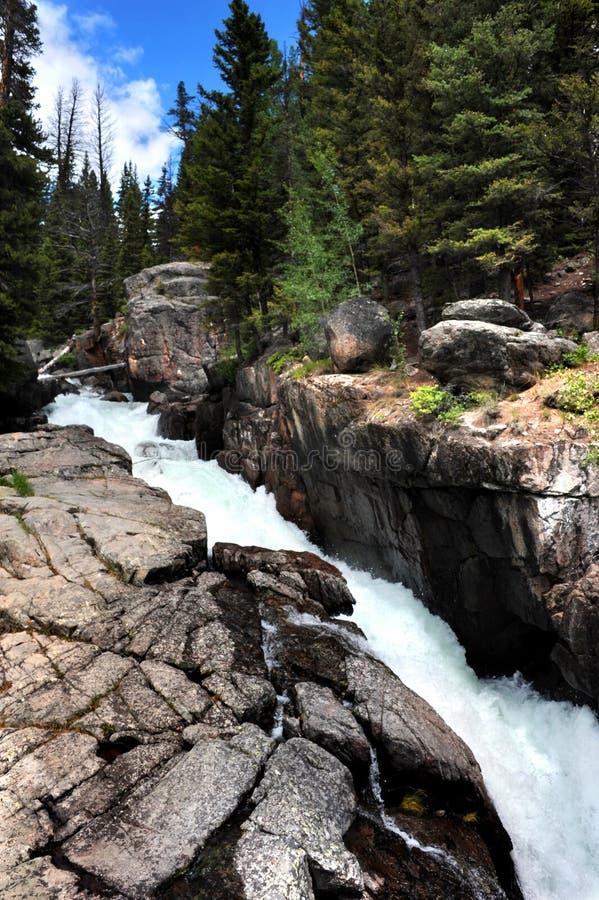 Acqua precipitante delle cadute dell'insenatura del lago immagini stock libere da diritti