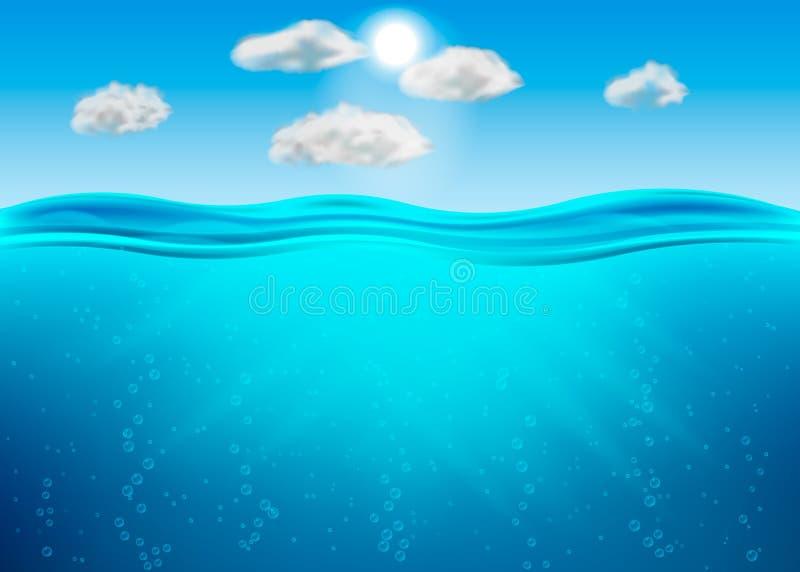Acqua profonda dell'oceano, mare nell'ambito del livello dell'acqua, orizzonte blu dell'onda dei raggi del sole Illustrazione di  illustrazione vettoriale
