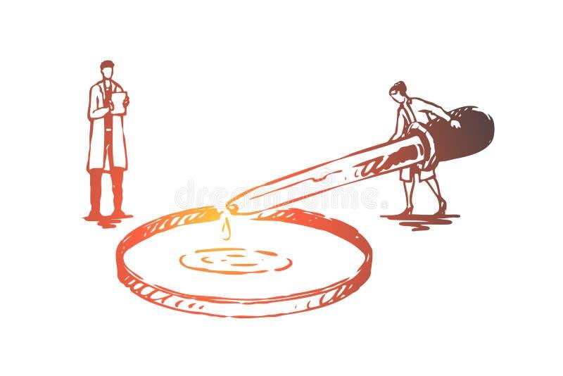 Acqua, purificazione, elemento, chimica, concetto di scienza Vettore isolato disegnato a mano illustrazione di stock