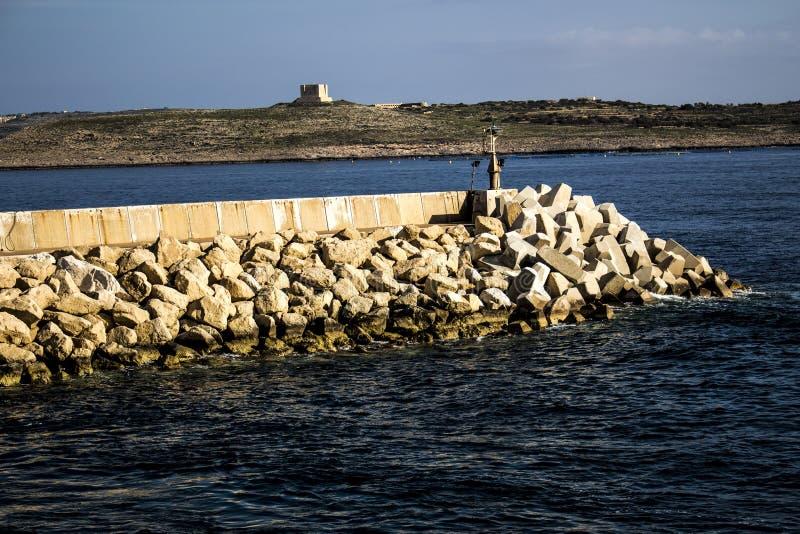 Acqua Quay a Cirkewwa Malta immagine stock libera da diritti