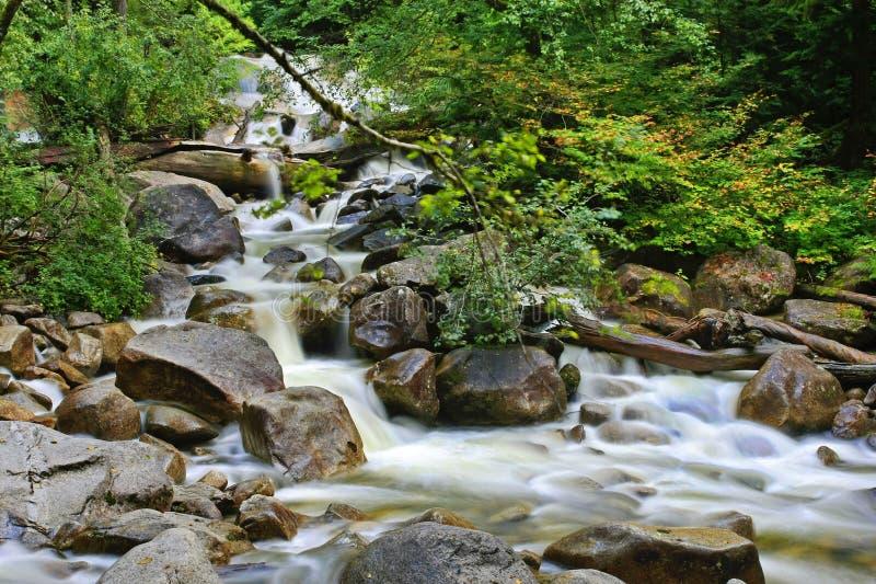 Acqua scorrente veloce sopra le rocce in un'insenatura fotografie stock
