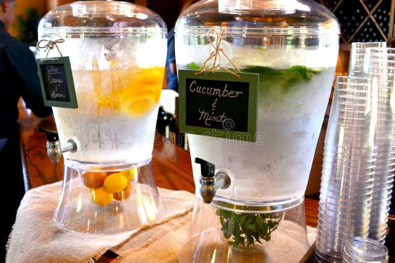 Acqua termale con frutta, il cetriolo e la menta immagini stock