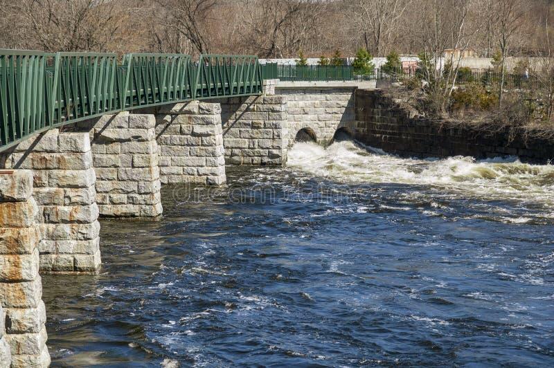 Acqua turbolenta lungo il Greenway del fiume di Blackstone fotografia stock libera da diritti