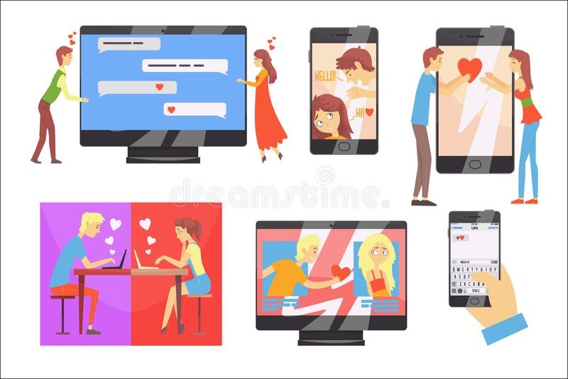 Acquaintance through the social network, distance relationship, online dating set of vector Illustrations vector illustration