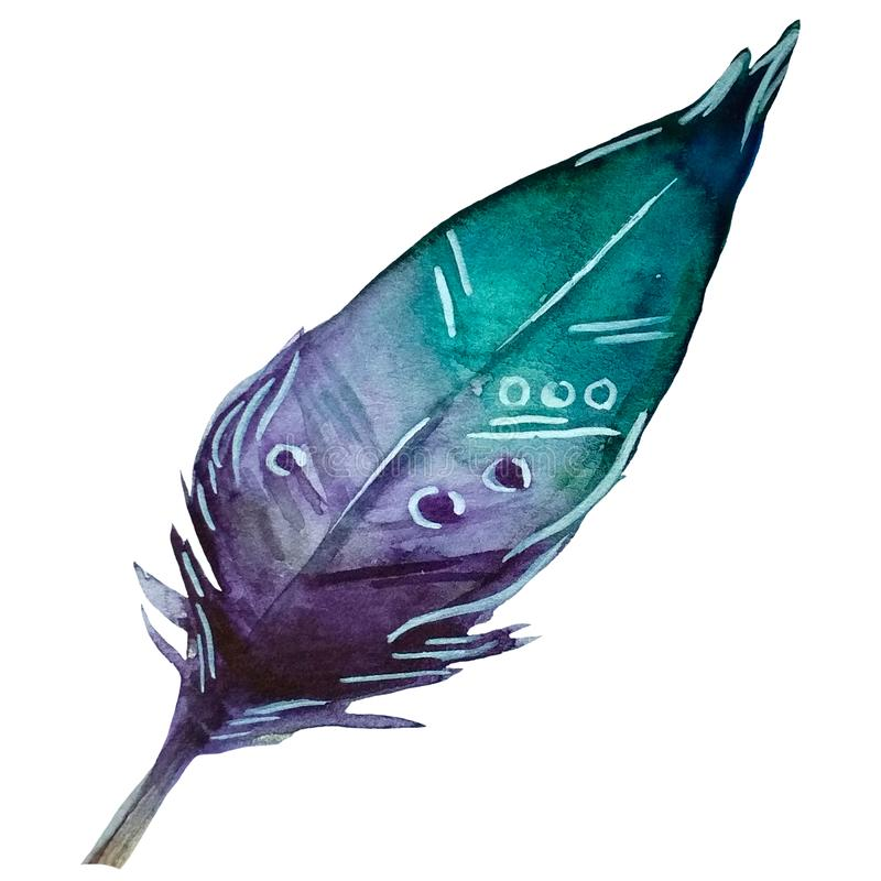 Acquamarina disegnato a mano dell'acquerello e piuma viola con l'ornamento bianco illustrazione vettoriale