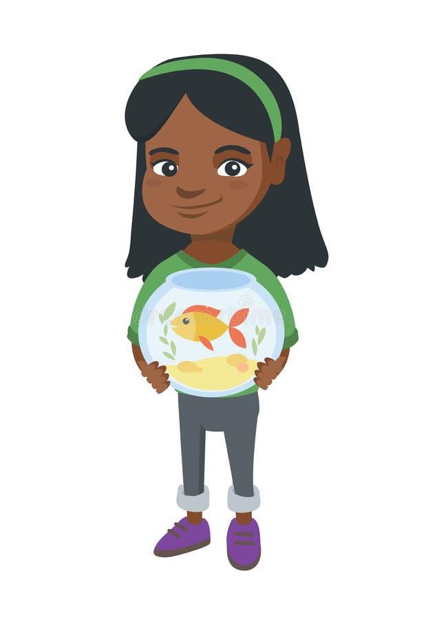 Acquario africano della tenuta della ragazza con il pesce rosso illustrazione di stock
