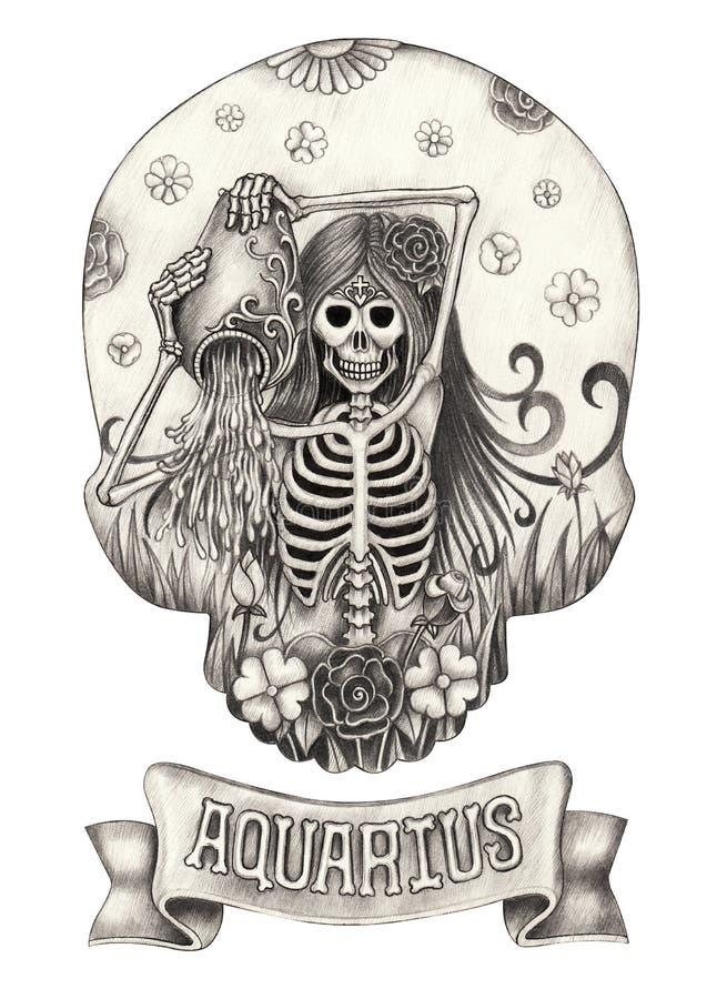 Acquario del cranio dello zodiaco Disegno della mano sul documento royalty illustrazione gratis