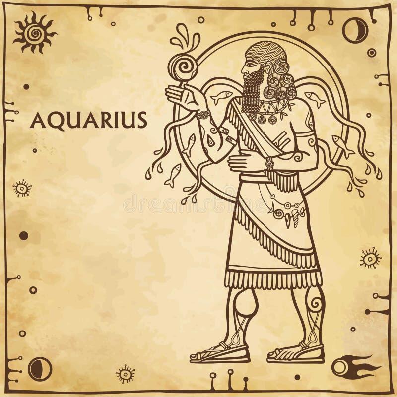 Acquario del segno dello zodiaco illustrazione vettoriale