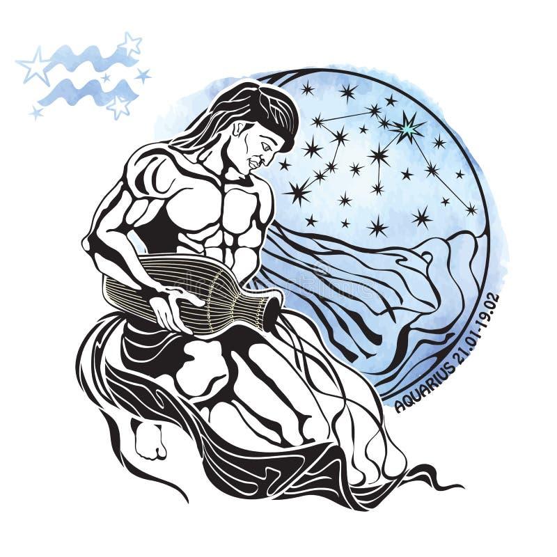 Acquario del segno dello zodiaco Cerchio dell'oroscopo watercolor illustrazione di stock