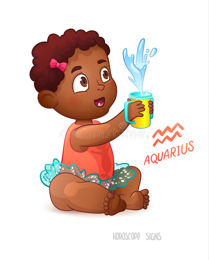 Acquario del segno dello zodiaco La ragazza sveglia afroamericana gode di spruzza in tazza d'alimentazione Gioco dell'acqua royalty illustrazione gratis