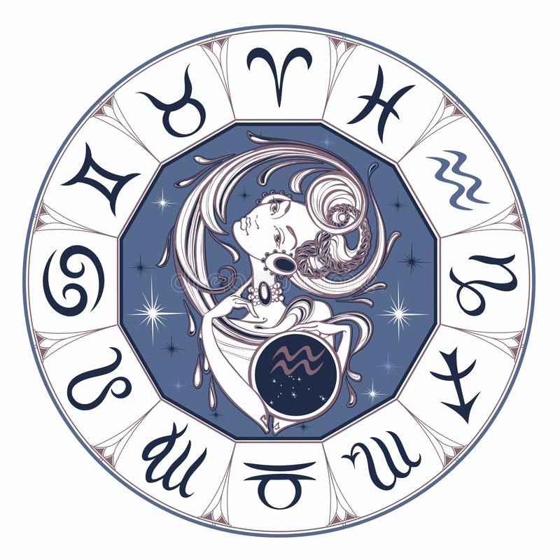 Acquario del segno dello zodiaco una bella ragazza horoscope astrologia Vettore illustrazione vettoriale