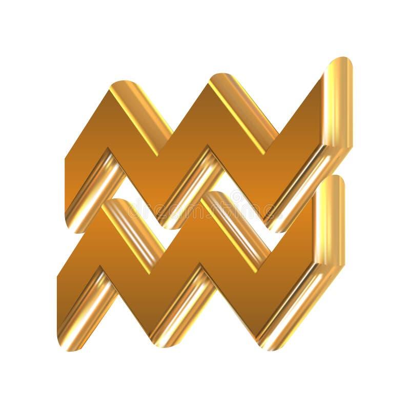 Acquario dorato del segno dello zodiaco illustrazione di stock