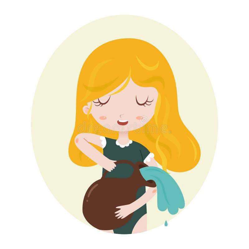 Acquario, oroscopo astrologico, ragazza del fumetto illustrazione di stock