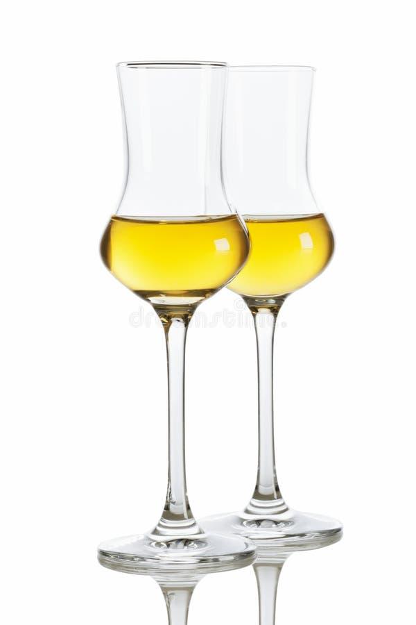 Acquavite di vinaccia italiana dorata fotografia stock libera da diritti
