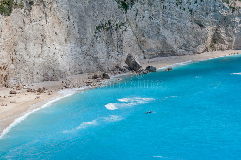 Acque blu della spiaggia di Oporto Katsiki, Leucade, Isole Ionie immagine stock libera da diritti