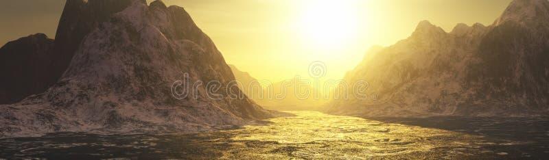 Acque dorate e paesaggio delle montagne illustrazione vettoriale