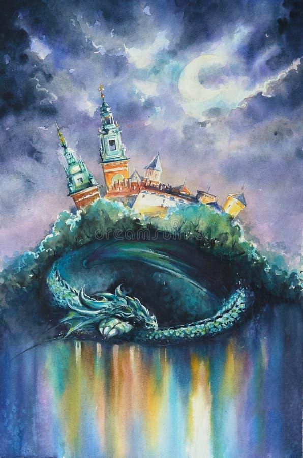 Acquerelli del drago di Wawels dipinti illustrazione vettoriale