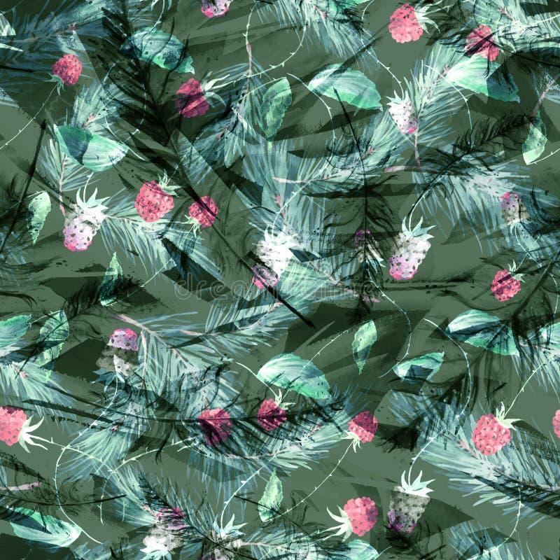 Acquerello, annata, modello senza cuciture in more, lamponi, rami del pino, abete, aghi Fondo senza cuciture dell'acquerello illustrazione vettoriale