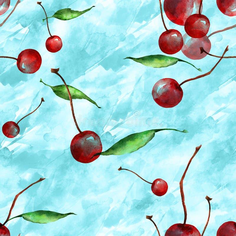 Acquerello, annata, modello senza cuciture - ramo della prugna, bacca della ciliegia, foglia Prugne del ramoscello con le foglie illustrazione di stock