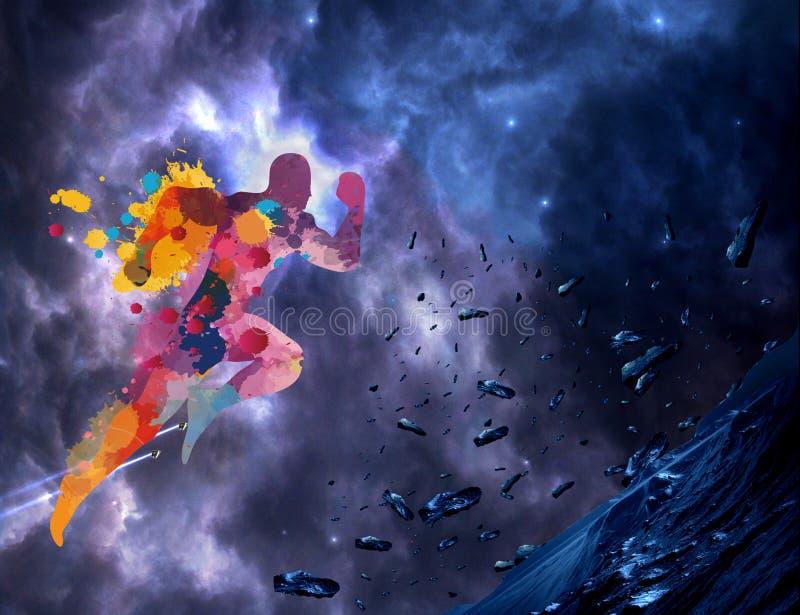 Acquerello artistico astratto di un uomo multicolore che corre su un fondo galattico del materiale illustrativo della nebulosa va illustrazione di stock