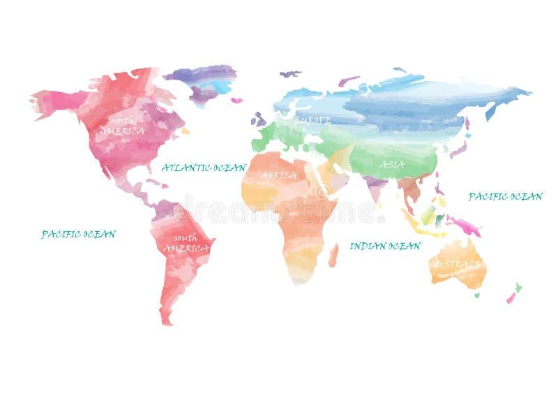 Acquerello artistico della mappa di mondo illustrazione vettoriale