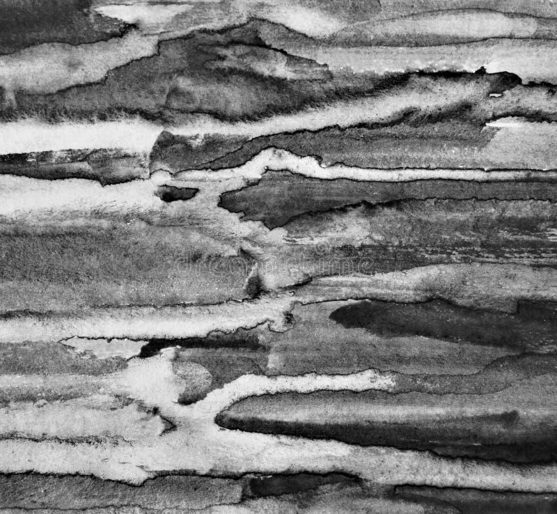 Acquerello astratto su struttura di carta come fondo Nel nero e fotografie stock