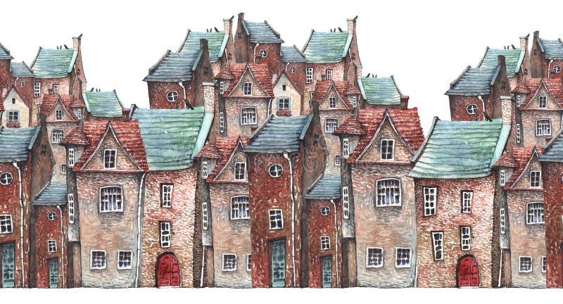 Acquerello attern di vecchia città illustrazione vettoriale