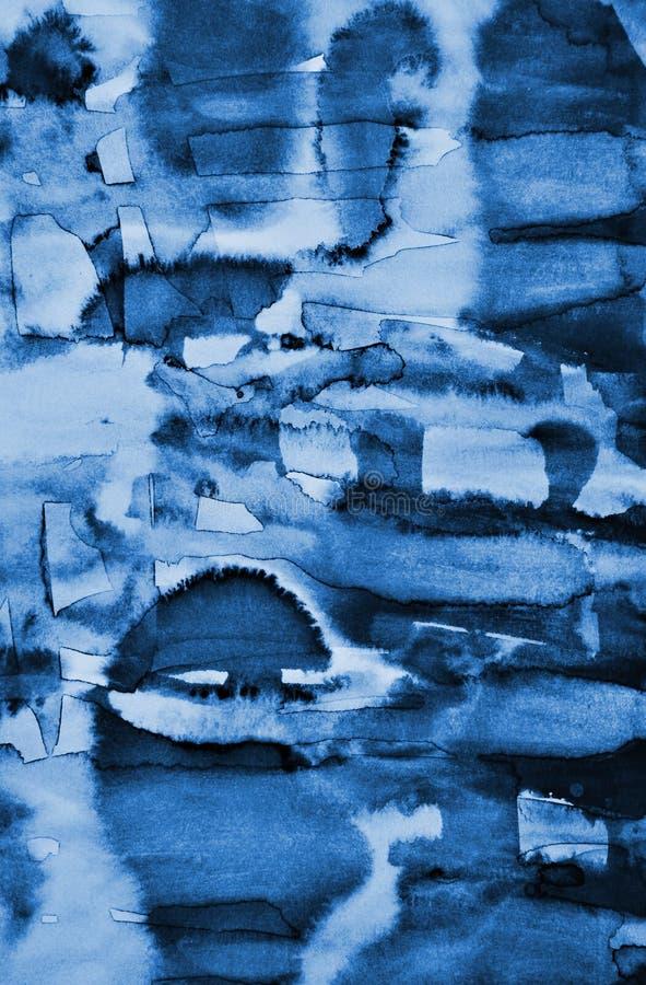 Acquerello blu astratto su struttura di carta come fondo Christm fotografia stock libera da diritti