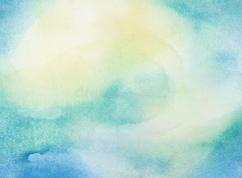 Acquerello blu e giallo dell'estratto dipinto immagine stock