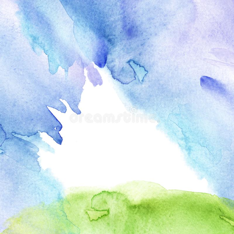 Acquerello blu, fondo verde, macchia, chiazza, spruzzata di pittura blu e verde Cielo blu dell'acquerello, erba verde, collina Es illustrazione vettoriale