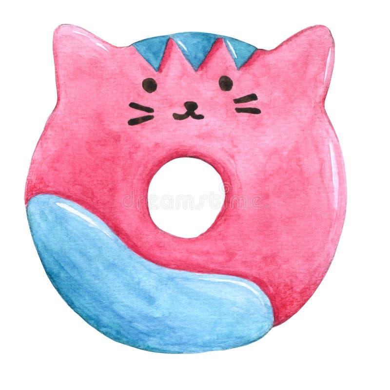 Acquerello Cat Donuts su fondo bianco con il ritaglio-percorso per decorativo e progettazione, modello, imballante illustrazione di stock