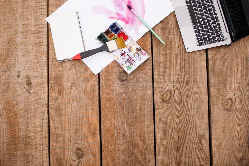 Acquerello che dipinge i corsi e le esercitazioni online fotografia stock