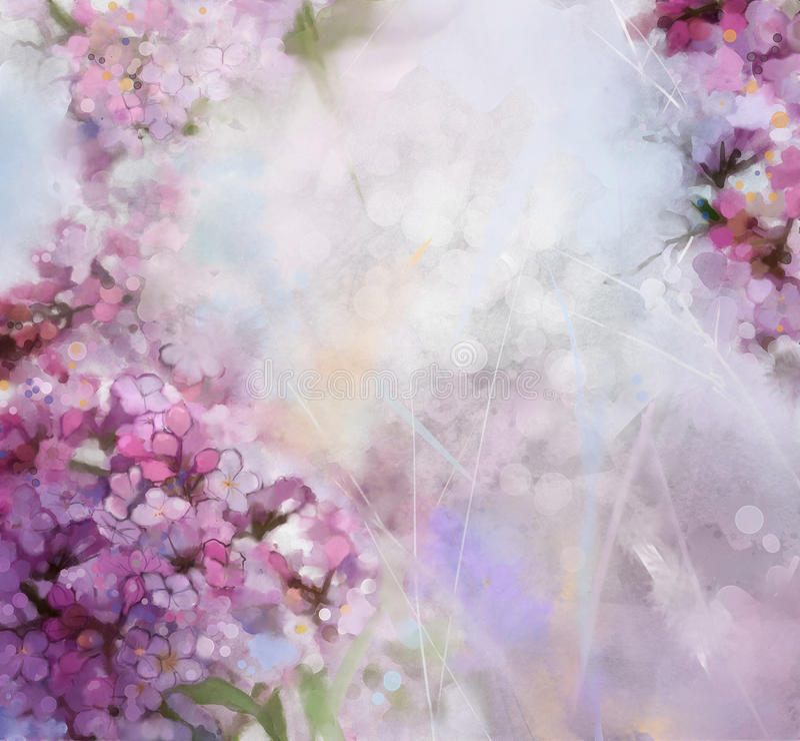 Acquerello che dipinge il fiore rosa dell'albero di albicocca illustrazione vettoriale