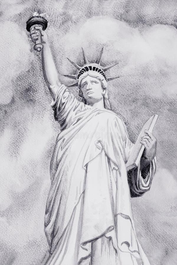 Acquerello che dipinge la statua della libertà illustrazione vettoriale