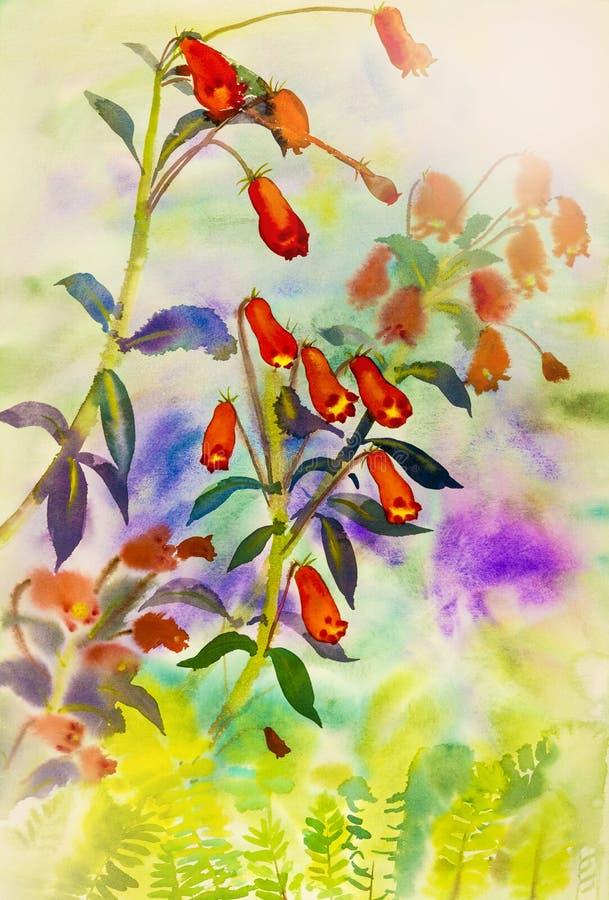 Acquerello che dipinge paesaggio originale variopinto del fiore del giardino royalty illustrazione gratis