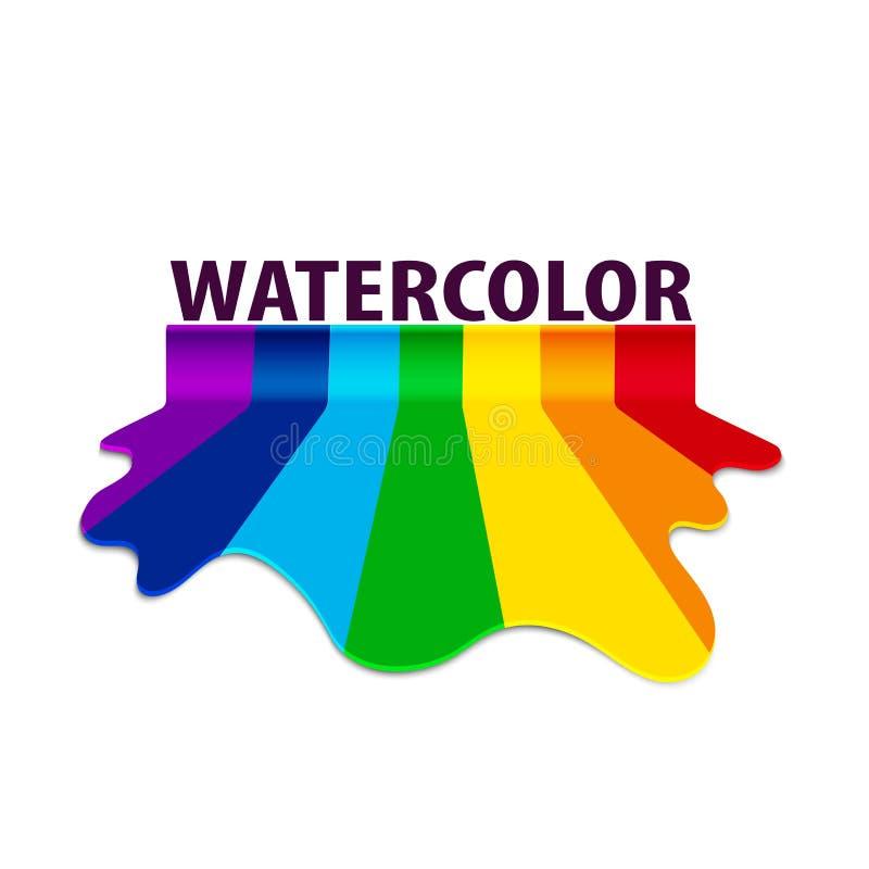 Acquerello a colori dell'arcobaleno dalla corrente di diffusione della pittura illustrazione di stock