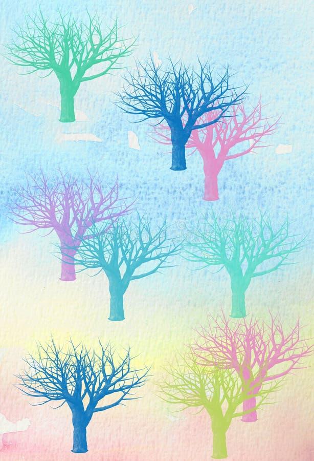 Acquerello degli alberi di inverno illustrazione vettoriale