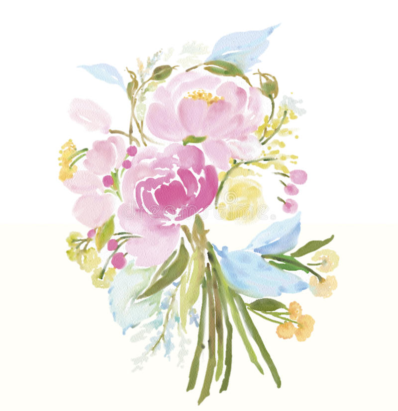 Acquerello dei fiori fotografia stock