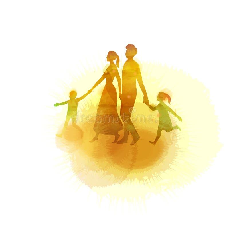 Acquerello dei genitori felici che hanno buon tempo con i loro piccoli bambini Famiglia su fondo rosa stile del taglio della cart royalty illustrazione gratis