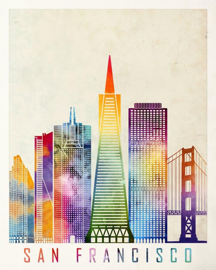 Acquerello dei punti di riferimento di San Francisco illustrazione di stock