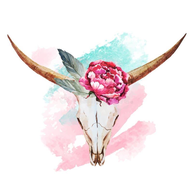 Acquerello del cranio del toro illustrazione vettoriale