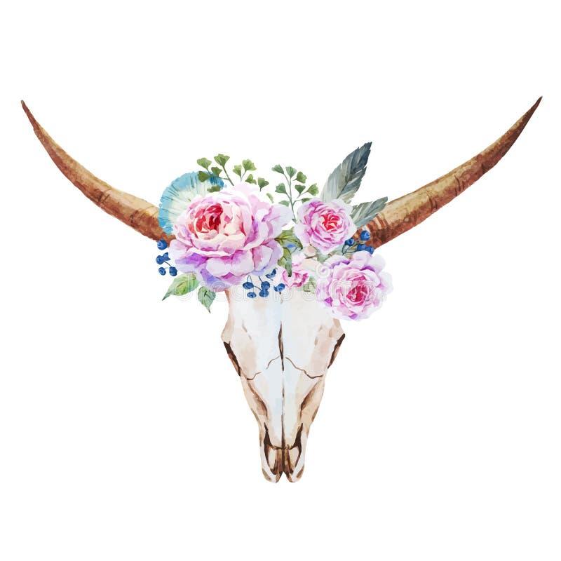 Acquerello del cranio del toro royalty illustrazione gratis