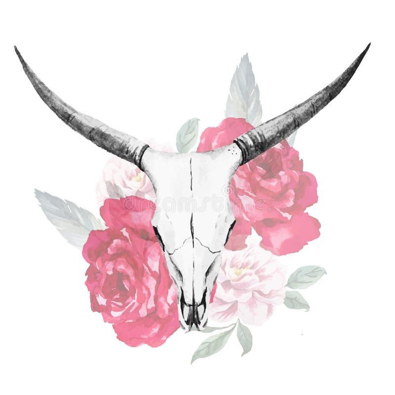 Acquerello del cranio del toro illustrazione di stock
