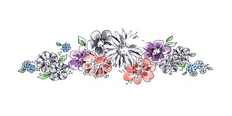 Acquerello del fiore del mazzo illustrazione di stock