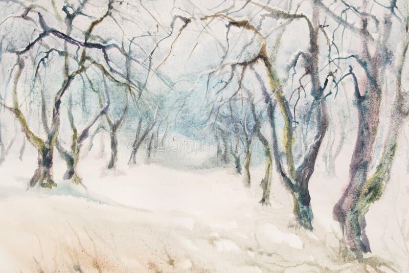 Acquerello del giardino di inverno di melo illustrazione vettoriale