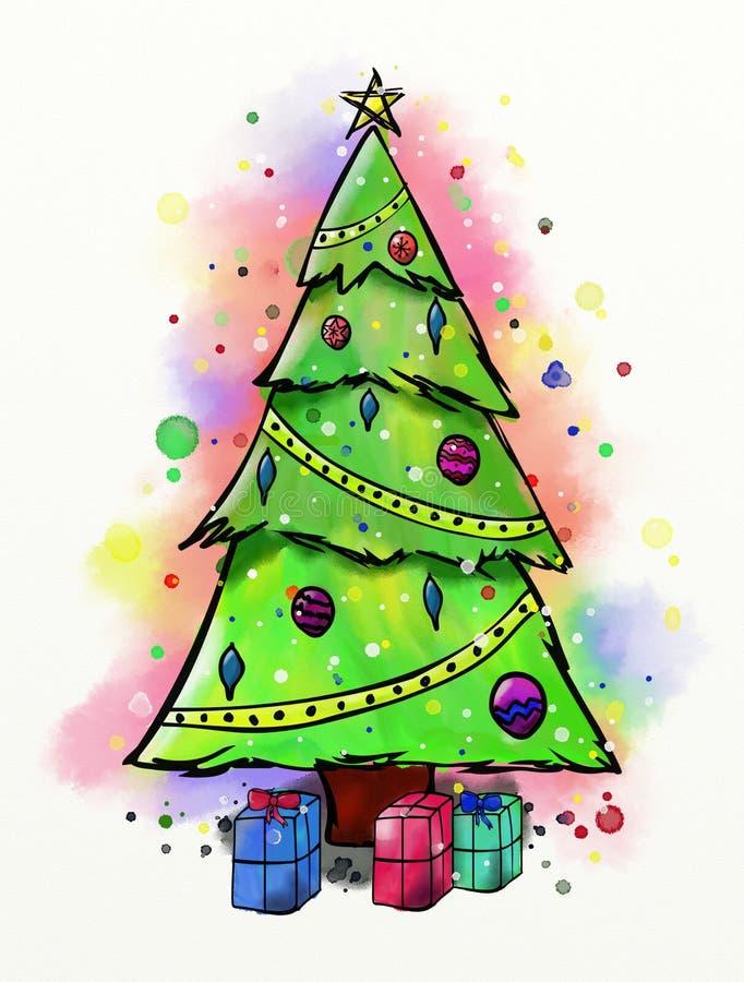 Acquerello dell'albero di Natale illustrazione vettoriale