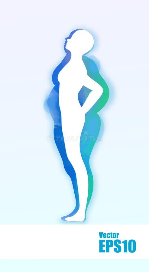 Acquerello della femmina obesa di peso eccessivo grassa concettuale e dell'ente in buona salute adatto esile dopo perdita di peso fotografia stock libera da diritti