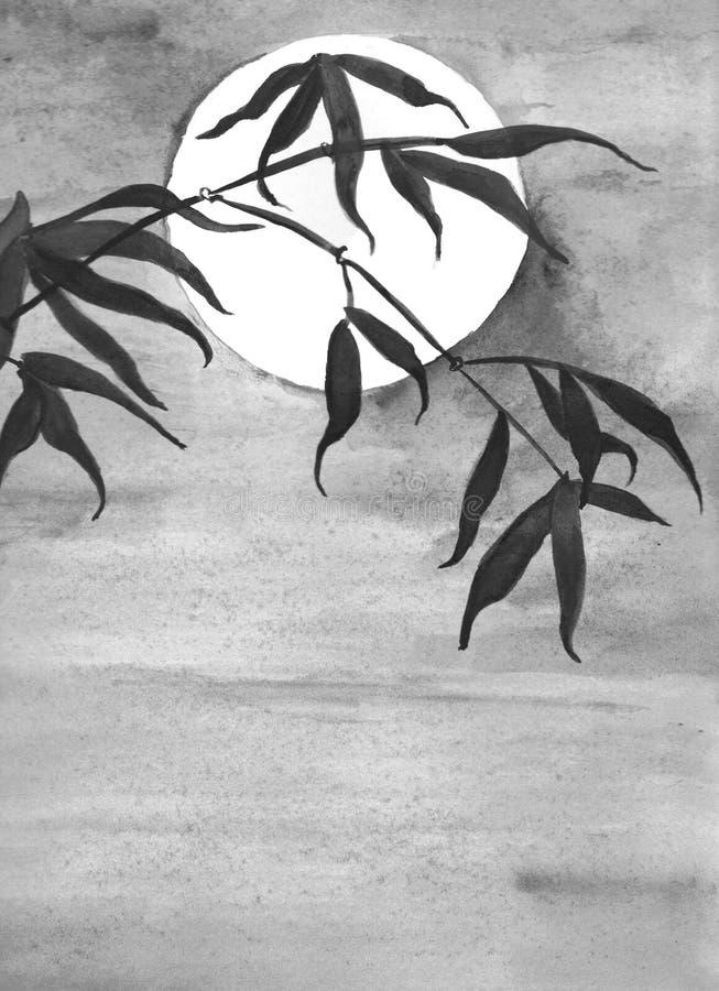 Acquerello della luna e del bambù illustrazione di stock